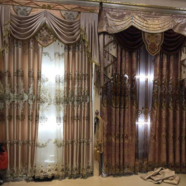 2017 double embroider lace magnetic curtain magnet curtain for 3 window curtain design