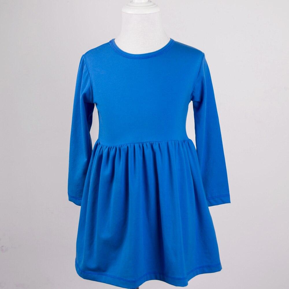 fashion style infant children frock design cotton baby girl elegant royal blue puffy dress long sleeve dress