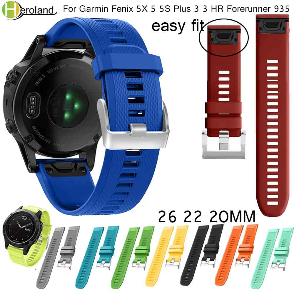 Watchband Strap Bracelet For Garmin Fenix 5X 5 5S Plus 3 3HR 935 Smart Watchbands Quick Release Silicone Easyfit WristBand Strap