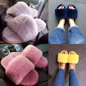 Image 1 - Millffy pelliccia di lana pantofole a casa di aria condizionata in camera pantofole di pelle di pecora pelliccia pantofole scarpe da casa delle donne