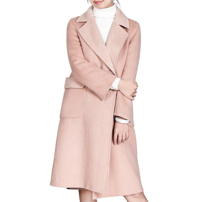 2018 女性秋冬 Cassic シンプルなウールロングコート女性の上着マントのファム  グループ上の レディース衣服 からの ウール混紡 の中 1