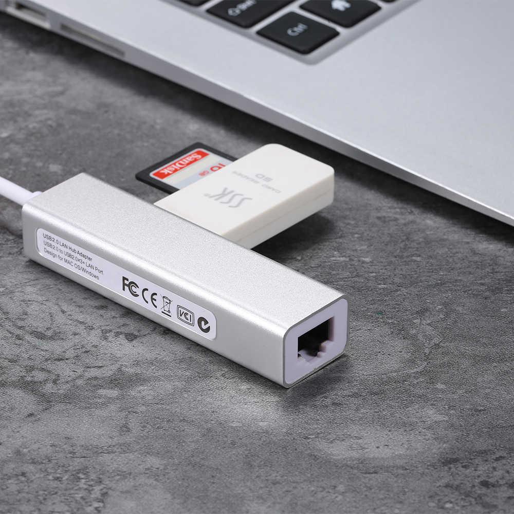 Adaptador HUB RJ45 3 puertos USB 2,0 de convertidor de expansión de tarjeta de red de 100Mbps Fast Ethernet para Macbook Flash Drive HDD