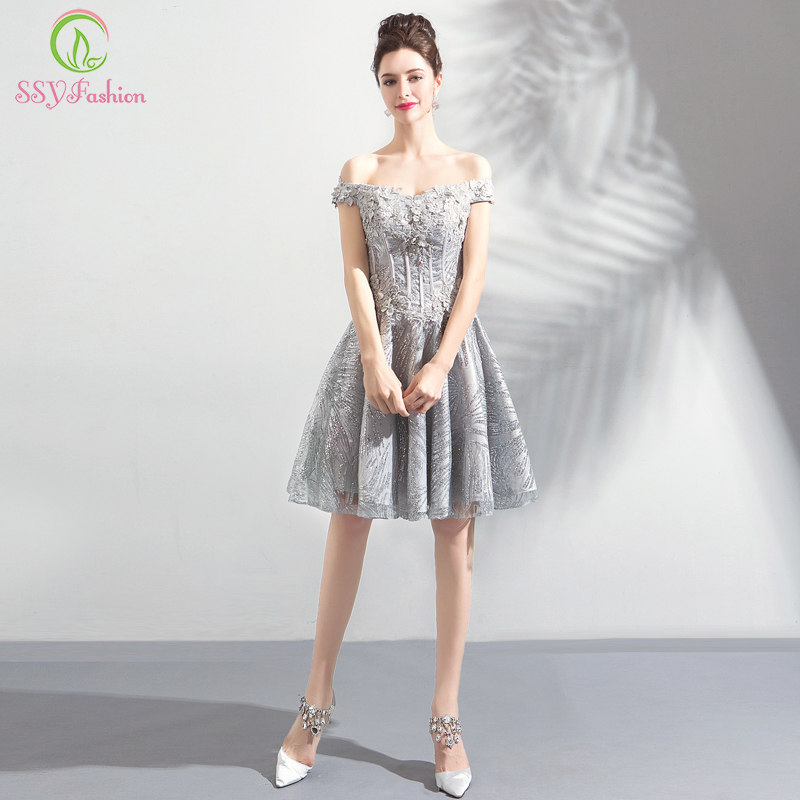 SSYFashion New Short   Cocktail     Dresses   Banquet Sweet Grey Lace Appliques Knee-length Party Formal Gown Robe De Soiree