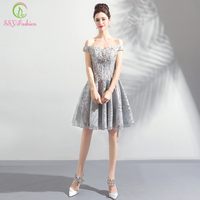 SSYFashion New Short Cocktail Dresses Banquet Sweet Grey Lace Appliques Knee length Party Formal Gown Robe De Soiree