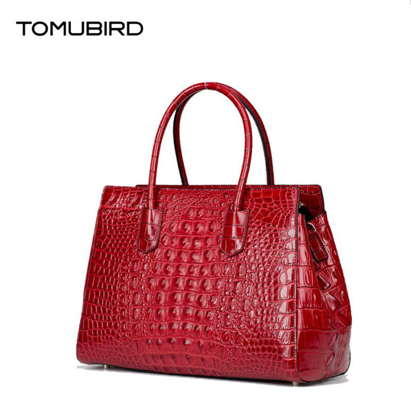 Women genuine leather bag famous brands quality cowhide Crocodile pattern embossed women leather handbags shoulder bag women crocodile embossed bag handbags 100% genuine cow leather for women handbag flaps shoulder tote messenger bag famous brands