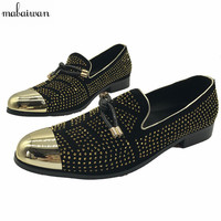 Gold Rhinestone Men Loafers Fashion Metal Toe Mens Flat Shoes Office Shoes Slip On Casual Flats