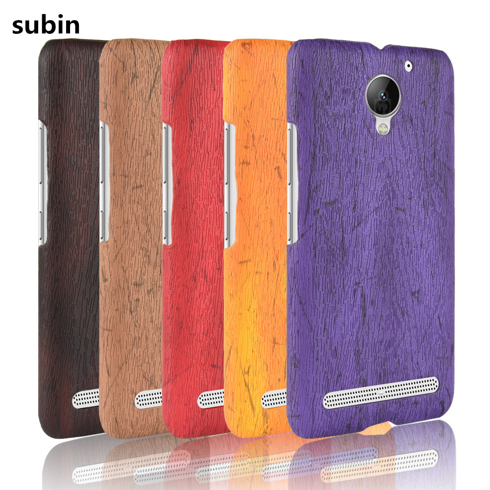 For Lenovo Vibe C2 Phone Case Bumper PC Plastic For Lenovo C2 K10a40 PU Leather Cover for Lenovo vibe c2 Power Wood Cases image