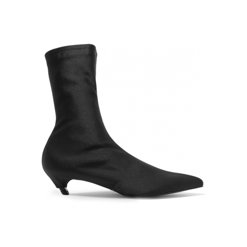 1cc09f63d2ac6 Bota Feminina Black Stretch Fabric Ankle Boots Exaggerated Pointed Toe  Slanted Kitten Heel Booties Slip On Sexy Sock Shoes Woman-in Ankle Boots  from Shoes ...