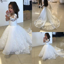 все цены на Long Sleeve Tulle A-Line Flower Girls Dresses For Wedding Lace Appliques White First Holy Communion Dresses онлайн