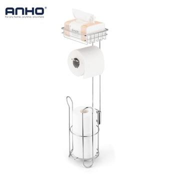 Dispensador de rollo de papel higiénico de acero inoxidable soporte de papel de baño estante de almacenamiento para teléfono móvil