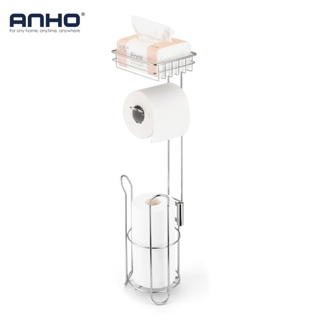 Stainless Steel Toilet Paper Roll Dispenser Bathroom Holder Stand Home Storage Shelf For Cell Phone