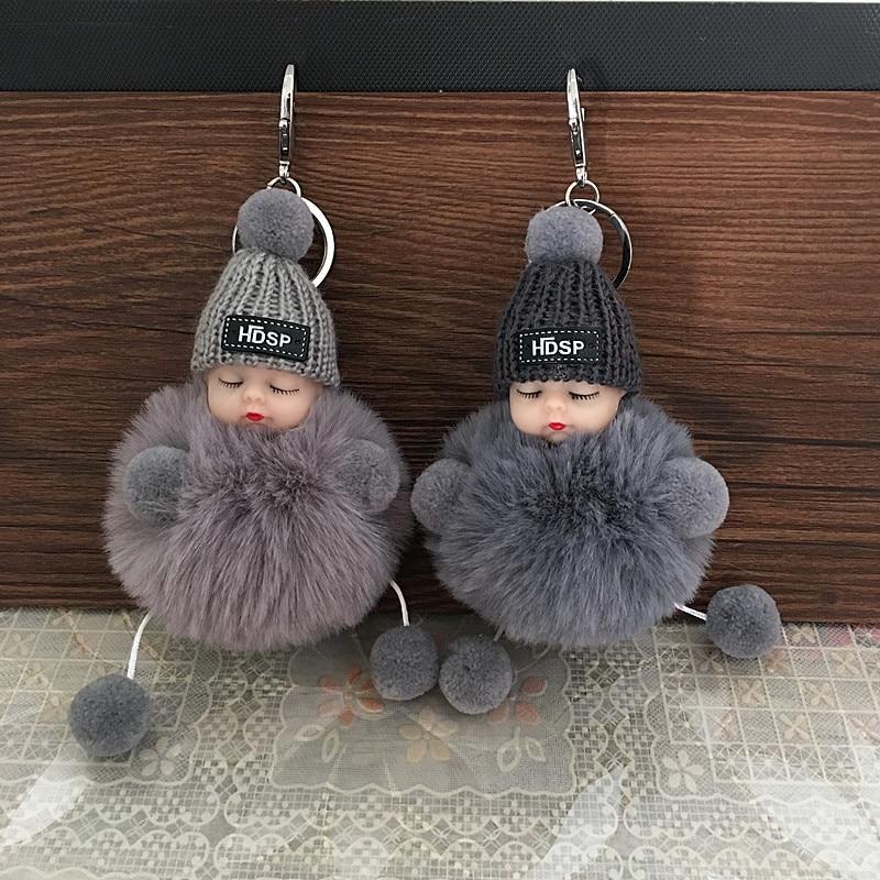 Cute Cartoon Sleeping Doll Keychain Fur Ball Plush KeyChain Keyring Women Handbag Car Key Holder Bag Pendant Toys For Kids Gift