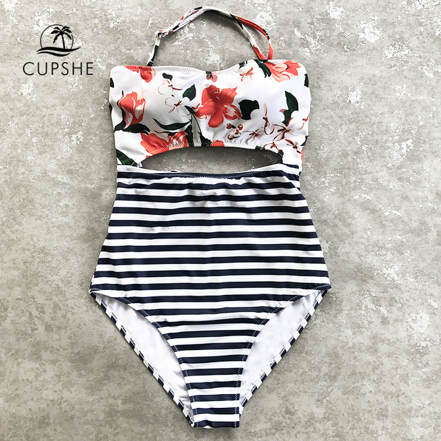 56d19e0e74177 CUPSHE Open Lilies Flora Print One-piece Swimwear Women Cutout Back Tied  Bow Halter Monokini 2019 Beach Bathing Suits Swimsuits