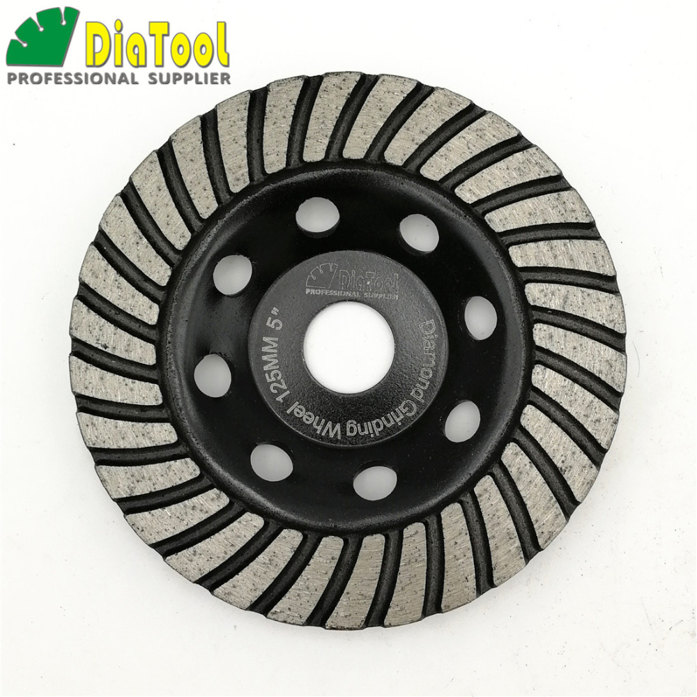 DIATOOL 5inch Diamond Turbo Row Grinding Cup Wheel Dia 125mm Grinding Disc For Concrete Masonry 2pcs dia 125mmx10mm vacuum brazed diamond grinding wheel dia 5 beveling wheel flat for marble granite artificial concrete stone