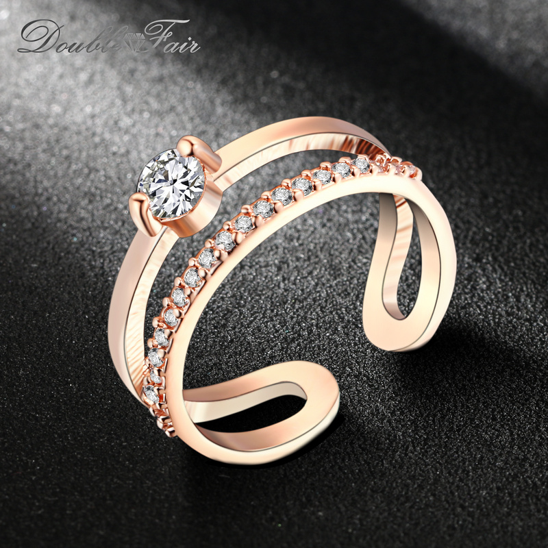 Double Fair Brand Resizable Cubic Zirconia Rings Silver/Rose Gold Color Wedding & Engagement Jewelry Gift For Women DFR481