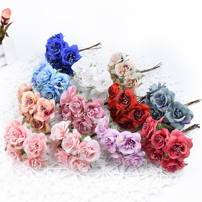 6pcs Vases for home decor wedding bridal accessories clearance silk roses flowers for scrapbook diy gifts box artificial flowers