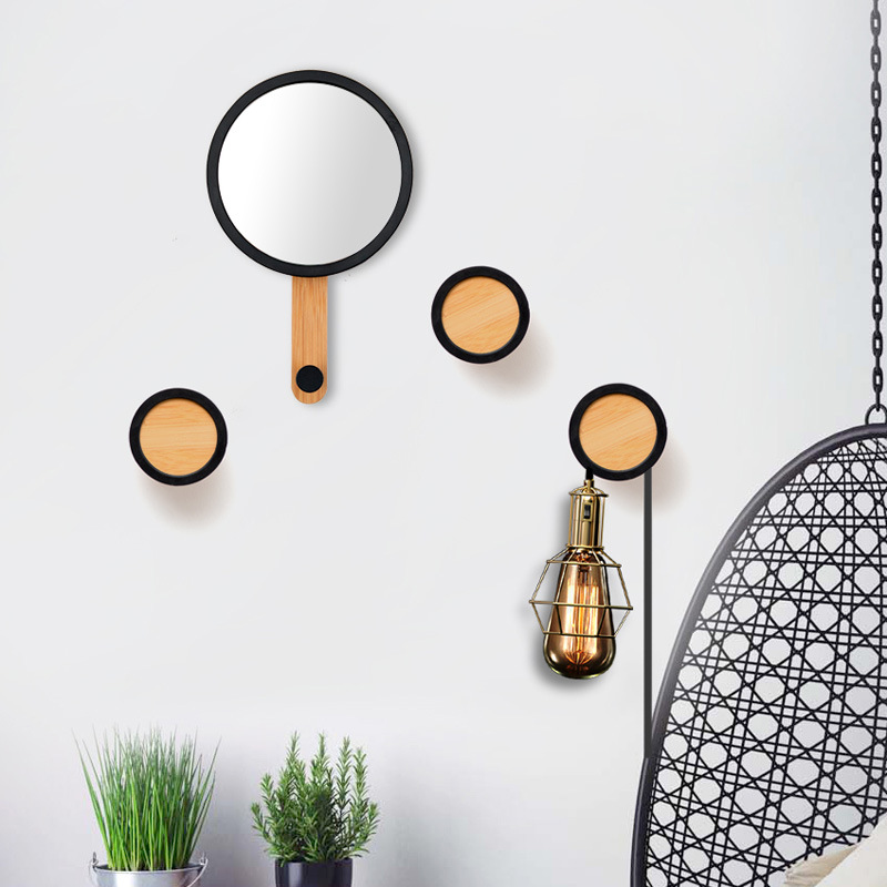Entrance Hook Creative Decoration Hanging Mirror Wall Wooden Coat Hook Wall Hanging Solid Wood Coat Rack Home Wall Decoration