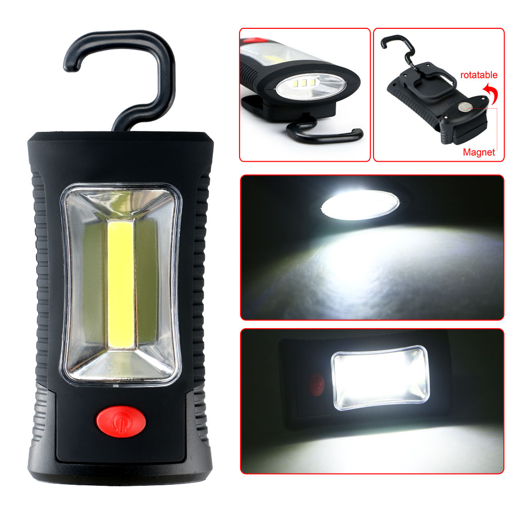 LED Flashlight AAA COB 3W LED 3 LEDs Working Flashlight Lamp Magnetic Hanging Camping Light With