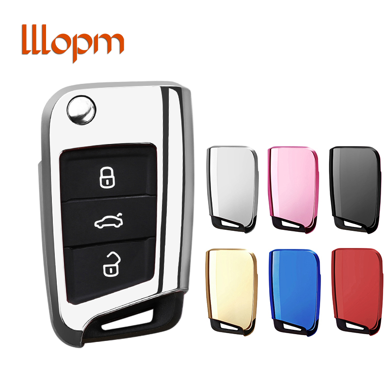Soft TPU Protection key Case Cover for VW Volkwagen TIGUAN L Golf GTE 2017 Skoda Octavia ...