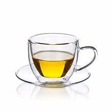 Набор чайных чашек-термостойкая двойная стеклянная чайная кофейная чашка 160 мл+ стеклянное блюдце-м 125 мм