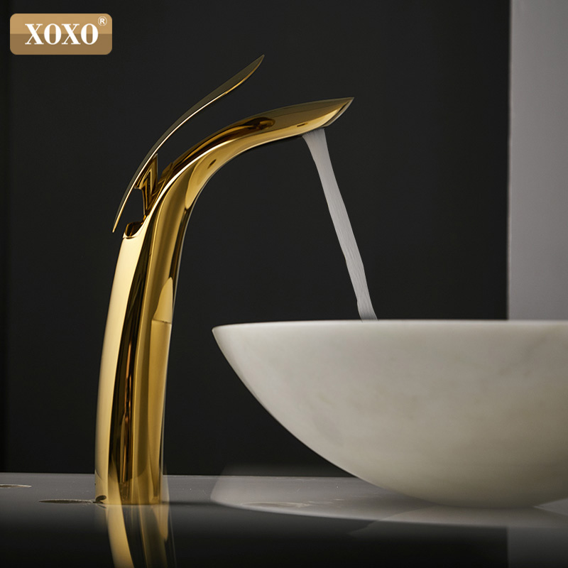 XOXO Luxury Basin Faucet Cold And Hot Bathroom Single Hole Gold Faucet Brass Basin Faucet Mixer Tap Crane 23025-1