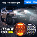 2PCS 7 INCH 105W Round Black Projector headlight with DRL High/Low Beam  For Jeep Wrangler 07-15 CJ TJ JK Hummer