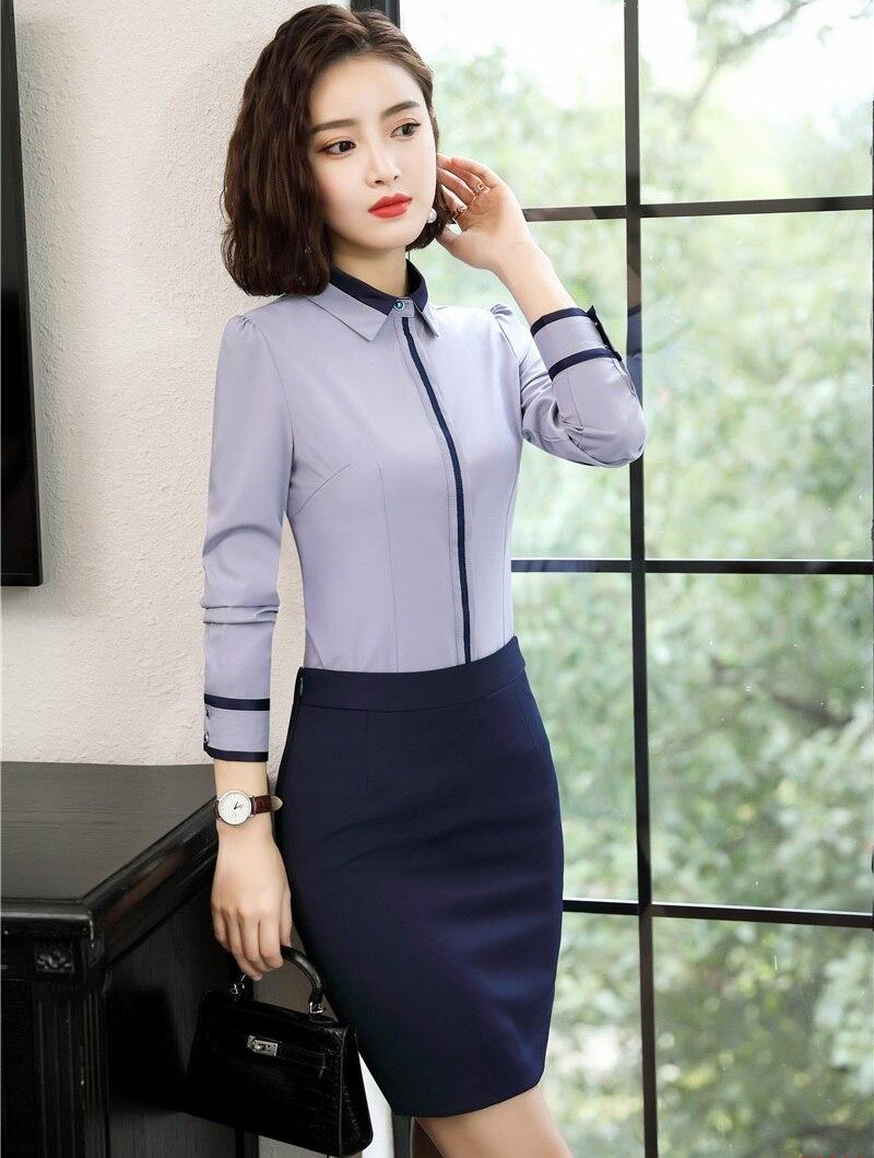 Blue Blouses Top Chemises Femmes 2019 Jupe Pièce Complet Pour 2 Dames Et Ensembles Ol blanc Travail Styles Femme Grey Nouveau qUvInWF7tt