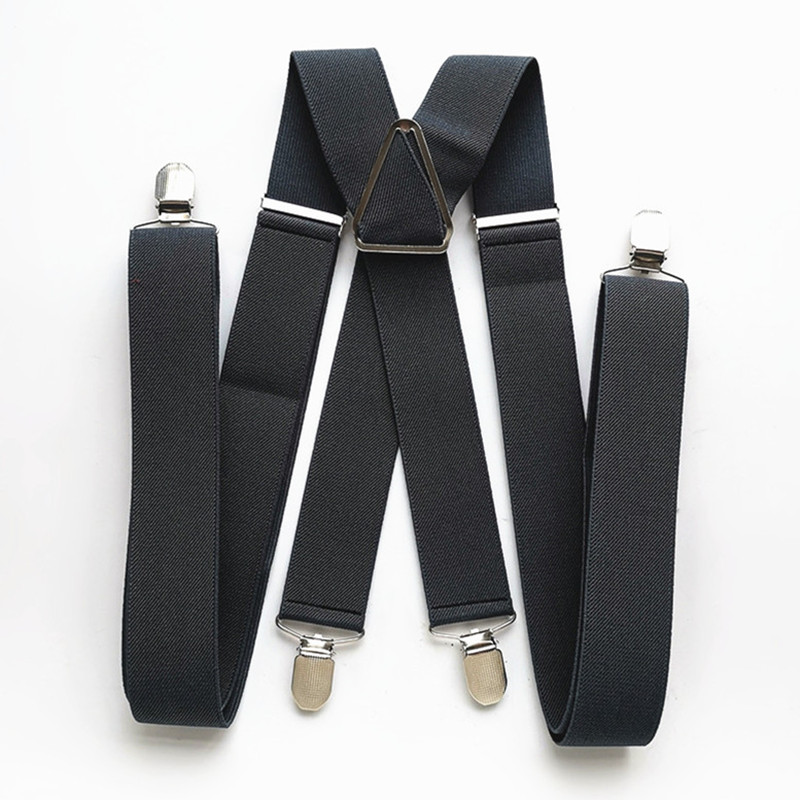 BD054-L XL XXLsize Dark Gray Men's Suspender 3.5 Cm Width Adjustable Elastic X Back  Clips On Pants Braces For Men And Women
