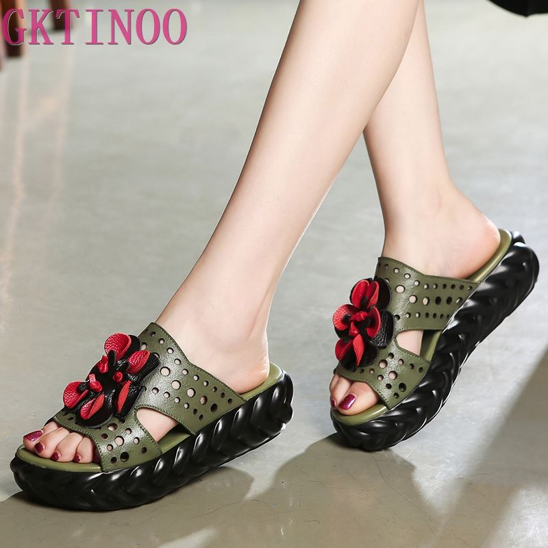 GKTINOO à la main fleur babouches femmes chaussures été en cuir véritable sandales 2020 nouvelle plate-forme pantoufles femmes sandales