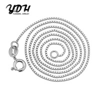 10PCS stainless Steel silver-plated 1MM box chains fashion women man necklace chains DIY Collar jewelry 16 18 20Inch