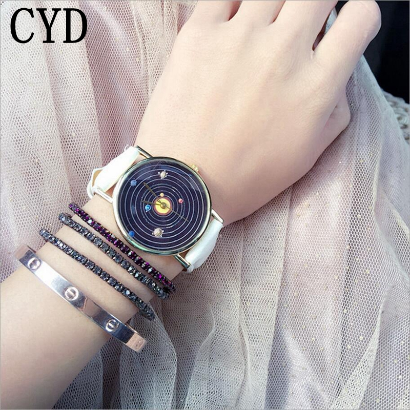Fantastic 2017 New Solar System Men Women Leather Band Watch Analog Quartz movement WristWatches Hot Selling Relogio Feminino fantastic 2016 hot sale leaf pendant bracelet leather chain alarm clock analog quartz movement wristwatches free shipping jun 28