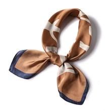 Simple Pure silk Scarf women 2019 new summer neck scarves square 70*70cm Letter pattern hair tie band bufanda foulard bandana
