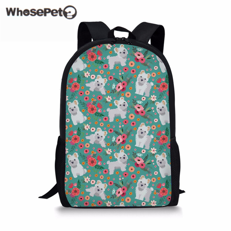 WHOSEPET Children Schoolbag For Girls Cute Maltese Flowers Pattern Womens School Backpack Kids Book Bag Brand Mochila Infantil