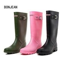 Резиновая Ботинки ПВХ Для женщин дождь Ботинки Обувь для девочек дамские сапоги на резиновой подошве для Повседневное Прогулки Открытый до середины икры Водонепроницаемый женские на низком каблуке обувь