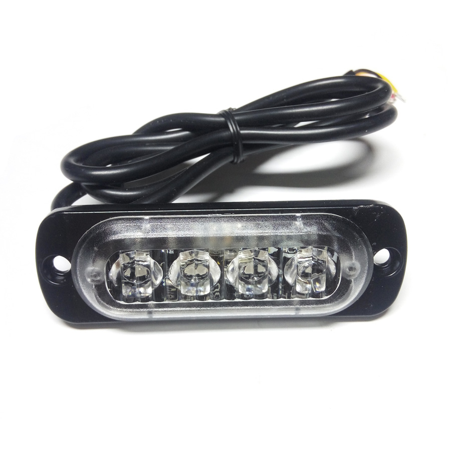 Car-Styling 12V 4 Led Strobe Warning Light Amber Red Blue Strobe Emergency Grille Flashing Lightbar Truck Car Beacon Slim Bright bright amber 24 led strobe light warning emergency flashing car truck construction car vehicle safety 7 flash modes 12v