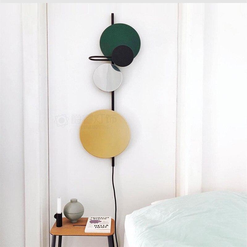 Креативный красочный прикроватный светодиодный настенный светильник для гостиной, настенный светильник для столовой, бра, арт деко, разъем 220 В, магнитная пластина, свободно регулируется - 4