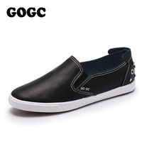 GOGC Brand Studs Crystal Flat Shoes Women Soft Design Shoes Women Luxury 2018 Loafers White Silver