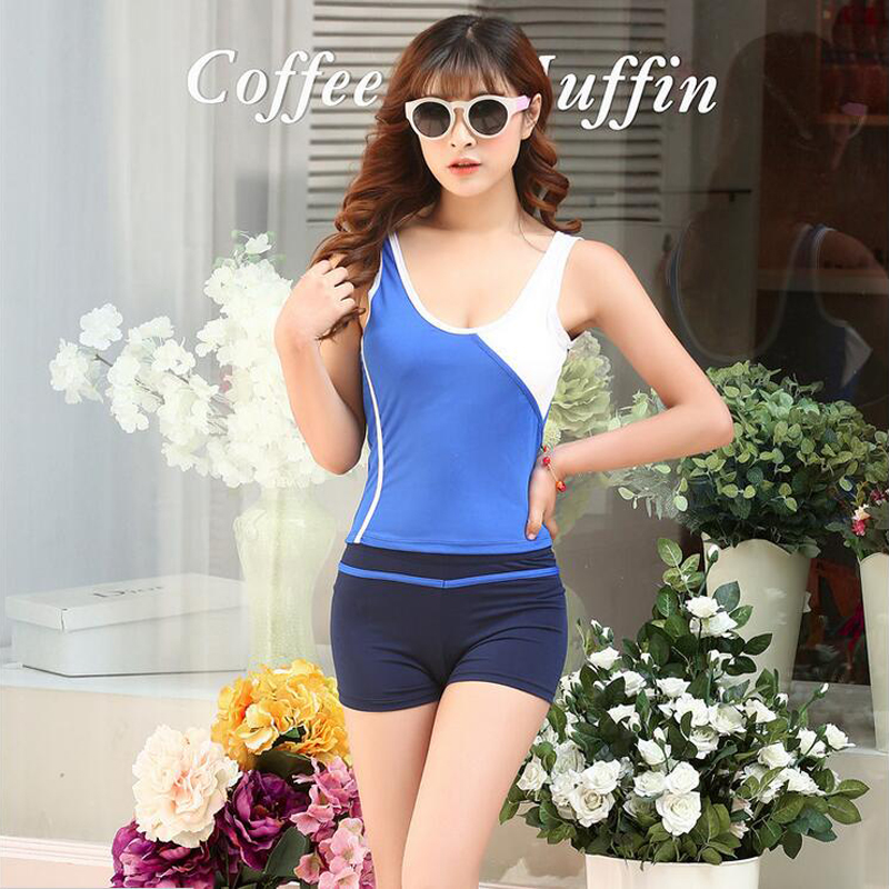 Youth Sports Sexy Women Female Girls Swim Swimming U Neck Backless Swimsuit Tops -3554