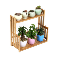 VICTMAX New Nordic Style 2 Tiers Succulent Wood Flower Holder Balcony Plant Pot Stand Shelf for Home Garden Supplies Hot Sale