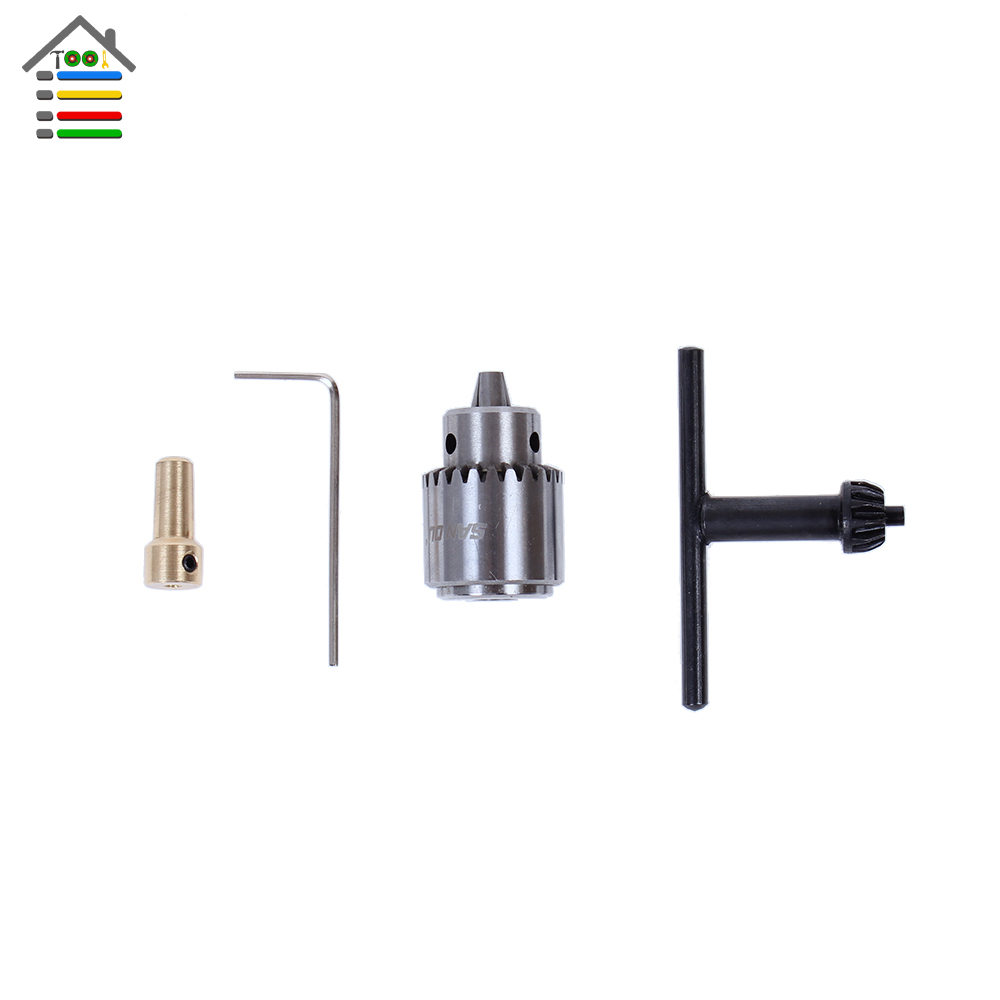 Mini Electric Drill Chuck 0.3-4mm JTO Taper Mounted Lathe Chuck PCB Mini Drill Press For 2.3mm Motor Shaft Connecting Rod autotoolhome mini dc 12v electric motor for wood pcb hand drill press drilling 0 5 3mm twist bits and jto chucks bracket stand