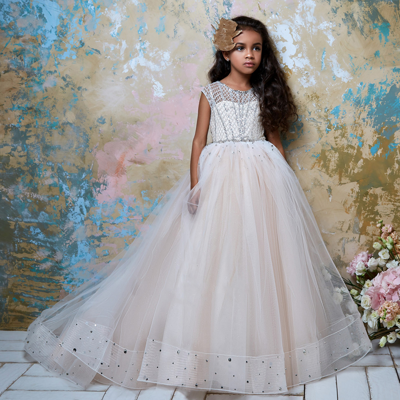 New Arrivals Tulle Cap Sleeves Sheer Ball Gowns Flower Girl Dresses Princess Wedding Gowns with Beading Holy Communion Dresses недорого