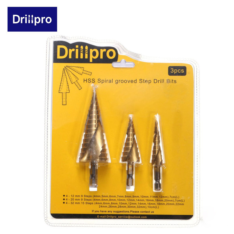 Drillpro 3 pz HSS Spirale Scanalati Drill Bit Center 4-12/20/32mm Carburo Solido Mini Accessori trapano Titanio Passo Cone Drill Bit