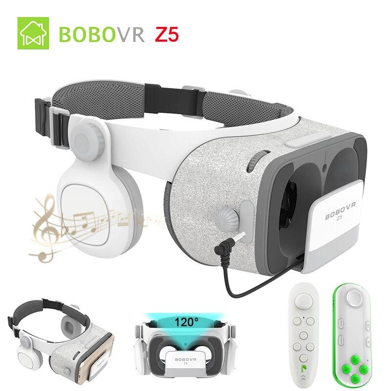 BOBOVR BOBO Atualização Z4 Z5 VR 120 FOV De Papelão 3D capacete Óculos de Realidade Virtual Caixa de Fone de Ouvido Estéreo para 4.7-6.2 'Móvel telefone