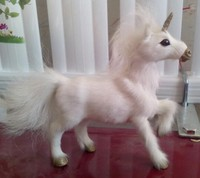 cute simulation white horse toy lovely resin&fur Pegasus doll gift about 18x18cm