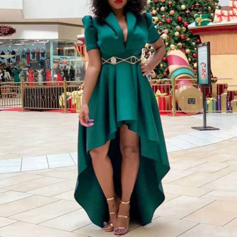 Асимметричное Платье с v-образным вырезом и коротким рукавом, Длинные вечерние платья, винтажные женские зеленые большие размеры 3XL, макси платье для женщин