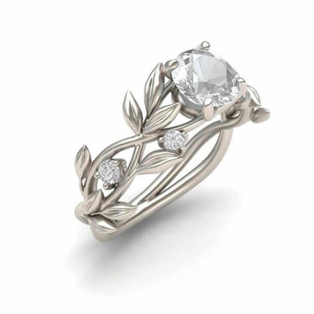 Top quality Women's Silver Floral Transparent Flower Vine Leaf Rings Wedding Gift Man or Woman Gift engagement ring #25