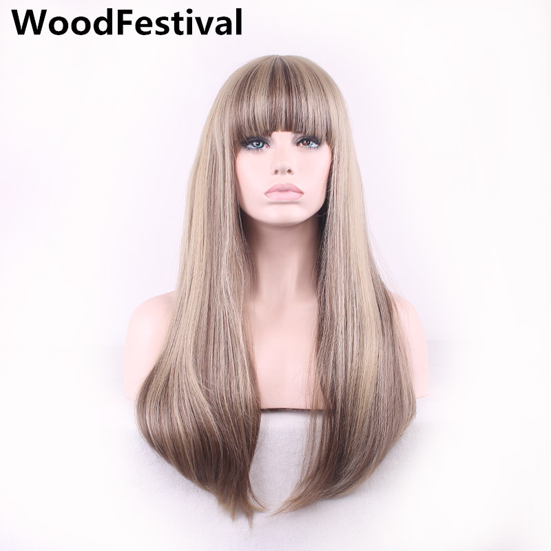 WoodFestival Women's Straight Wigs Brown Mix Color Long Heat Resistant Synthetic Wig With Bangs Cosplay