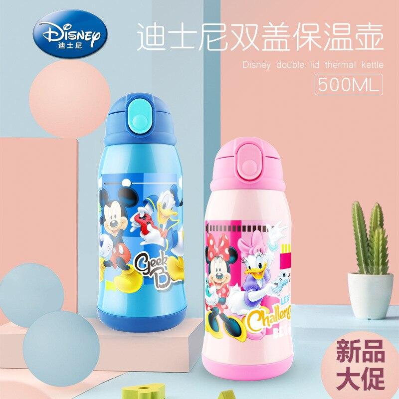500ML 2019 nouveau Disney enfants double couverture Thermos tasse avec tasse ensemble paille tasse cadeau