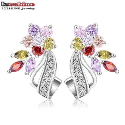 LZESHINE 2016 New Hot Flower Stud Earrings Multicolor/Clear AAA Zirconia Stone Wedding Bride Jewelry joyas novia boda CER0201