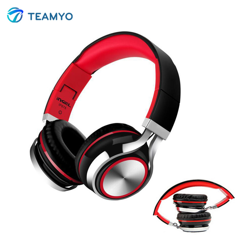 Teamyo IP878 Foldable HiFi Headphones Stereo Earphone Bass DJ Music Heaphone With Mic For Mobile Phone Computer Mp3 MP4 Notebook rock y10 stereo headphone earphone microphone stereo bass wired headset for music computer game with mic